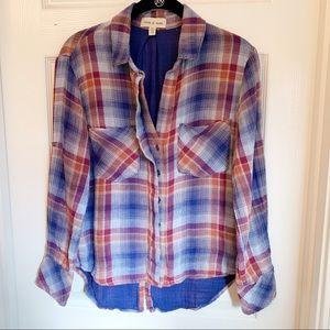 Anthropologie cloth y stone plaid shirt size xs